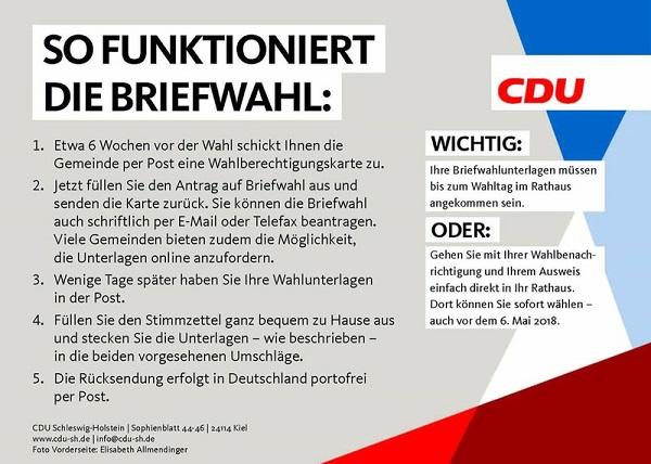 Briefwahl - CDU SH